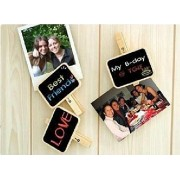 My Party Suppliers Mini Chalkboard with Wooden Clip (Set of 6) / Set of 6 Wooden Clip Small Wooden Blackboard Clips Message Clips