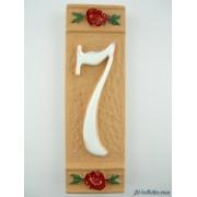 Numero civico ceramica con fiore rosso nfr7