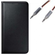 Lava A89 Flip cover (BLACK) With Premium Aux Cable-Color May Vary