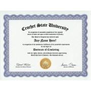Crocheting Crochet Degree: Custom Gag Diploma Doctorate Certificate (Funny Customized Joke Gift - Novelty Item)