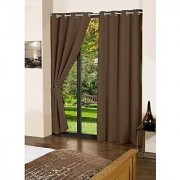 Lushomes French Roast Plain Cotton Curtains With 8 Eyelets for Door