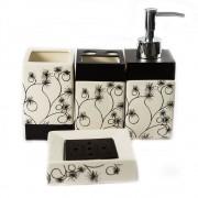 Set elegant, de baie, cu 4 accesorii, model clasic negru cu alb