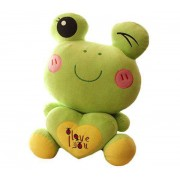 Green 15 Inch Winky Frog holding an I Love You Heart