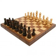 Walnut Book-Style Chess Board with Staunton Chessmen, Brown
