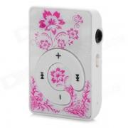 KD-MP3-31-HONGSE flor patron reproductor de MP3 portatil w / TF - blanco + rosa profundo