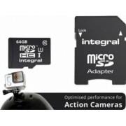 Card Memorie Integral MicroSDXC 64GB Clasa 10 + Adaptor SD inmsdx64g10-action