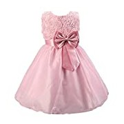 Flower Girl Dress: Girls Frock With Bow and Flowers For: First Communion, Confirmation, Christening, Baptism and Holidays: Age 6-7 Years (Pink)