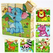 VolksRose 16 Pcs Wooden Cube Block Jigsaw Puzzles - Forest Animal Pattern Blocks Puzzle for Child 1 Year and Up -- Perfect Christmas Gift for Your Kids