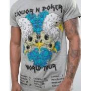 Liquor N Poker Liquor & Poker Skull Band Longline T-Shirt - Black