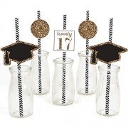 Tassel Worth The Hassle - Gold - Graduation Party Straw Decor with Paper Straws - Set of 24
