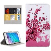 For Samsung Galaxy J1 Ace / J110 Peach Blossom Patterns Horizontal Flip Leather Case with Magnetic Snap & Card Slots & Holder & Wallet