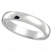Dome Comfort Fit Wedding Ring Band 18k White Gold (3mm)