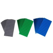 Premium Big Briks Blue, Green, and Gray Baseplate Set - 24 Pack (Big LEGO DUPLO Compatible) - Large Pegs