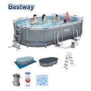 Bestway 488 x 305 x 107cm vízforgatós ovális fémvázas medence szett 56296 FFA 687 SANREMO