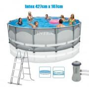 Intex 427x107cm Ultra Frame fémvázas medence szett 3,8m3/h vízforgatóval és kiegészítőkkel 28310 NP