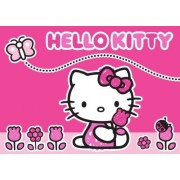 Associated Weavers 618279 Moderne Tapis Hello Kitty Papillon Et Fleurs Polyamide Rose 133 X 97 X 1 Cm