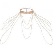 River Island Womens Rose Gold tone diamante draped choker harness