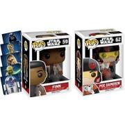 Poe & Finn Pop Series Figure - Star Wars: Bobble Head The Force Awakens with Bonus Stickers Yoda / Darth Vader / Chewbacca / C3PO & R2D2 Funko Bundle