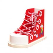 Banggood Wooden Threading Shoe Toy Learn To Tie Laces Lace Up Lacing Learning Aid