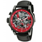 Invicta Watches Invicta Men's 'I-Force' Quartz Stainless Steel and Black Leather Casual Watch (Model 20543) RedBlack