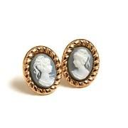 Cercei aur cu camee albastra vintage style