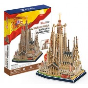 CubicFun Sagrada Family Church with Book, 194 Piece 3D Jigsaw Puzzle Made by 3D-Puzzle