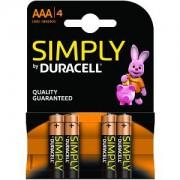 Duracell Simply AAA Pack von 4 Batterien (MN2400B4S)