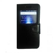 Avzax Premium Leather Window Flip Case Cover for Panasonic P88 (Black)