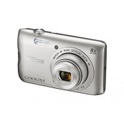 Nikon Coolpix A300 20.1MP Point and Shoot Camera with 8x Optical Zoom (Silver) with 16GB(class 10)SD Card +Carry Case