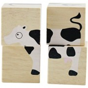 BeginAgain BuddyBlocks - Farm Animals - Wooden Blocks and Puzzle Game - Handcrafted Baby Toys for Learning - Great Educa
