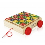 Wooden Alphabet Blocks, Best Wagon ABC Wooden Block Letters Come in a Pull Wagon for Easy Storage and Movement...