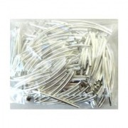 Rockin Beads Brand 200 Curved Tube Beads 2x35mm Silver Plated Smooth Spacer Metal Bead 1mm Hole Pkg of 200
