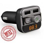 Premium 5-in-1 Bluetooth Carkit - Auto MP3 Speler - FM transmitter - LED Display - Handsfree bellen - 2 x High Speed USB Oplader - SD,TF Card Ondersteuning - USB Stick