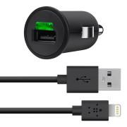 Belkin 12V LTG Micro 2.1 Amp/10W - захранване за кола с кабел Lightning за iPhone 5, iPhone 5S, iPhone SE, iPhone 5C, iPad 4, iPad Mini, iPad mini 2, iPad mini 3