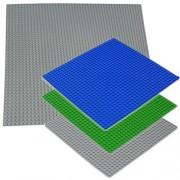 Katara - Set di 4 Basi Lego per Costruzioni in Colore Verde, Grigio e Blu - Una Base Grande 40 X 40 Cm (50 x 50 Bottoncini) e Tre 25.5 x 25.5 Cm (32 x 32 Bottoncini)