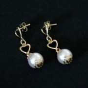 Semi Earring Jewelry Gold Plated Pearl with La Passion