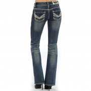 Rock & Roll Cowgirl Crystal Jeans - 28/32 - Blue - W0-7631