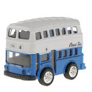 Magideal Model Double-Decker Bus Pull Back Car Educational Toy Kids Gift-Blue