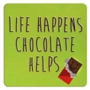 tinnen magneet - life happens chocolate helps