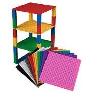 Premium Rainbow Stackable Base Plates - 12 Pack 6 x 6 Baseplate Bundle with 120 Rainbow Bonus Building Bricks (LEGO Co