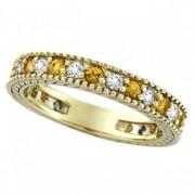 Diamond & Yellow Sapphire Eternity Ring Band 14k Yellow Gold (0.90ct)