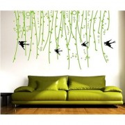 Walltola Sofa Background Vines Green Wall Decal (63X39 Inch)