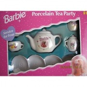Barbie Porcelain TEA PARTY TEA SET - CHILD SIZE 13 Piece Tea Set (1997)