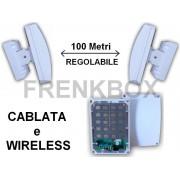 Barriere Microwave anti intrusione.Filare o wireless 433\868mhz con 20 rilevatori 100m