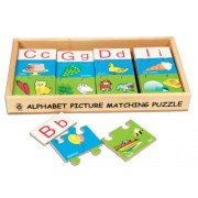 Skillofun Wooden Alphabet Picture Matching Puzzle Strips, Multi Color