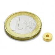 Magnet neodim inel, diametru 06/02 mm, putere 640 g, placat aur