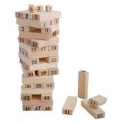 KABEER ART 48 Pcs Blocks 4 Dices Wooden Tumbling Stacking Jenga Building Tower Game