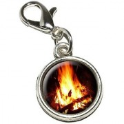 Graphics and More Campfire Camp Camping Fire Pit Logs Flames Antiqued Bracelet Pendant Zipper Pull Charm with Lobster Clasp