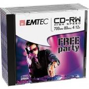 Set Discuri 5 Bucati CD-RW 700MB/80MIN 4-12x EMTEC