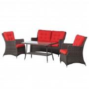 Tuinmeubelset Cap Ferrat I (4-delige set) - polyrotan rood, Maison Belfort